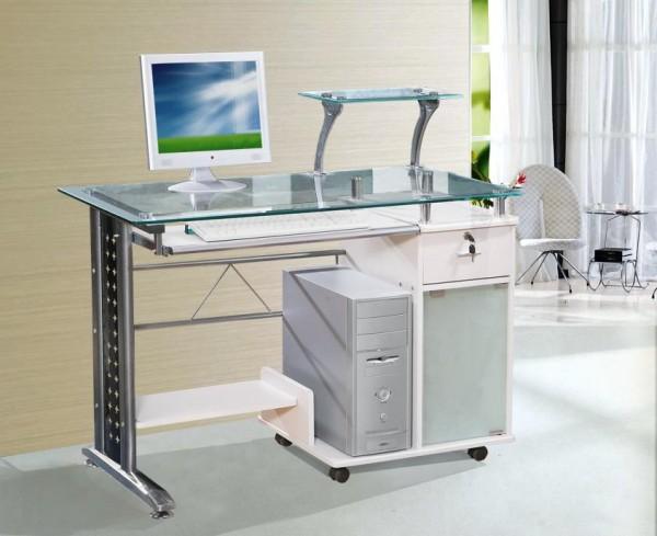 Стол компьютерный VS-21. Материал МДФ и калёное стекло. Размер 1100Х550Х990. Цвет белый и тёмный орех.