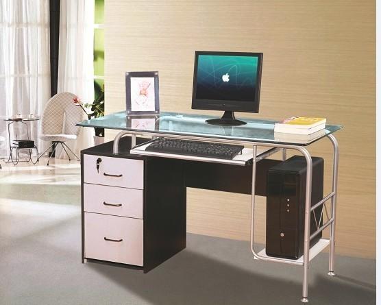 Стол компьютерный VS-48. Материал МДФ и калёное стекло. Размер 1200Х600Х750. Цвет белый тёмный орех.