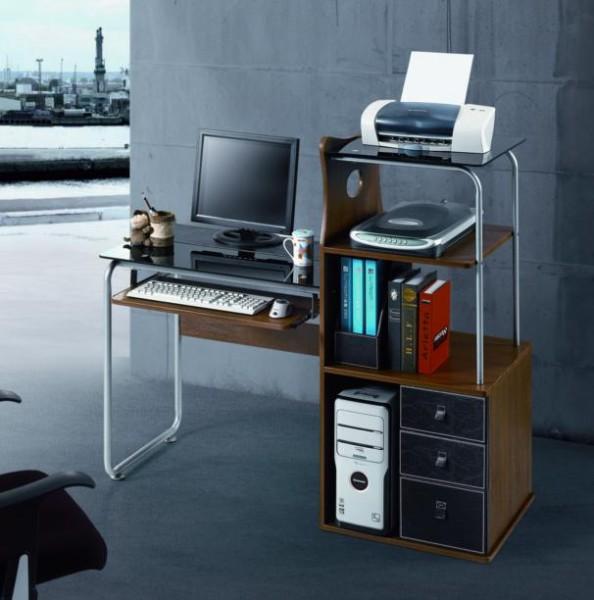 Стол компьютерный VS-57. Материал МДФ и калёное стекло. Размер 1200Х550Х1100. Цвет орех.