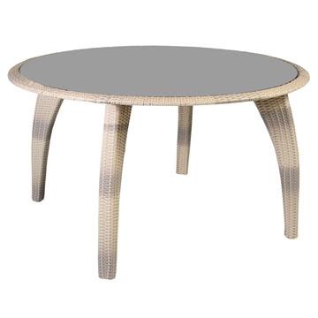 Стол круглый со стеклом бежевый из искусственного ротанга