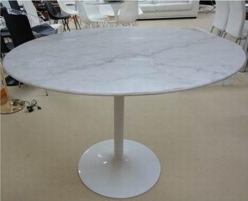 Стол обеденный Кармен, мраморная белая столешница, основание металл, окрашеный в белый цвет, диаметр-110, высота-80