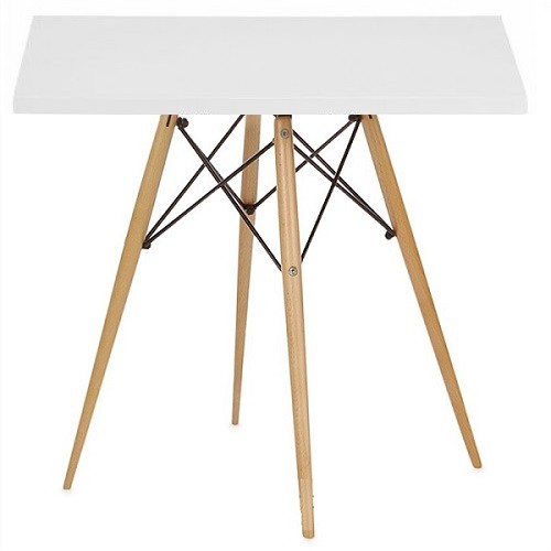 Стол обеденный деревянный квадратный Тауэр Вуд, цвет белый