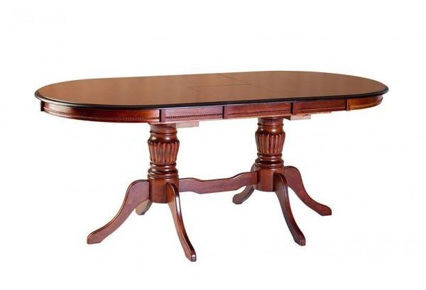 Стол овальный обеденный с раскладной столешницей, 3606-2 в цвете темная вишня. 150/195х900х750