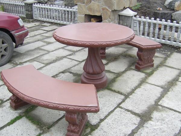 Стол садовый железобетонный с лавочками
