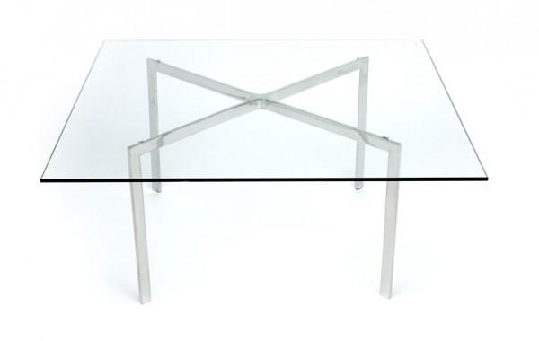 Стол журнальный Барселона, стекло, нержавеющая сталь