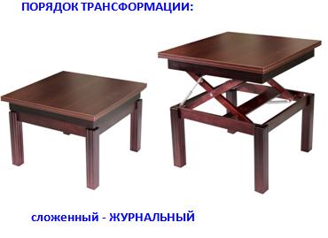 Столь трансформер 2 в 1 Размеры столешницы : журнальный / обеденный 760 х 760 / 760 х 1510