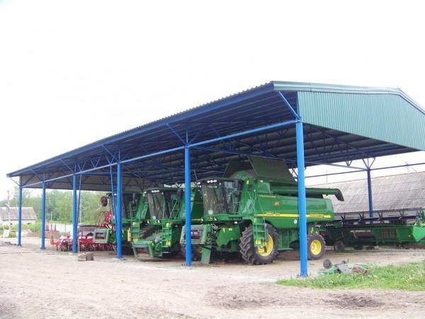Строительство навеса для сельхозтехники(изгот овление, доставка и монтаж металокаркаса, монтаж профнастила).