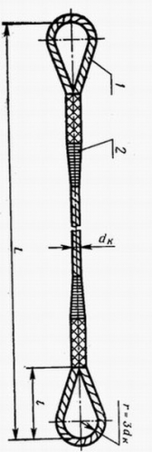 Стропа канатная тип СКП 0,8тн 5,0м диаметр каната 9,6мм