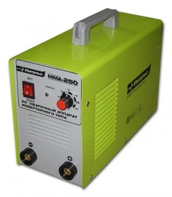 Сварочный инвертор Импульс-ММА-250 В комплекте идут сварочные кабеля, держатель, клемма массы.