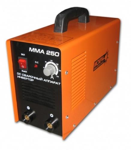 Сварочный инвертор ИСКРА ММА-250 В комплекте идут сварочные кабеля, держатель, клемма массы.