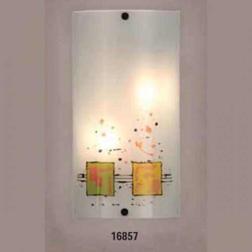 Светильник бра 219410 ELT 1х60W E27 220V. Основание металл белый, плафон стекло матовое с рисунком. Размер, мм:320х170