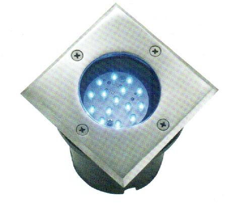 Светильник грунтовой (цвет светодиодов-белый) D003C 120х120х160мм хром металл IP65 24 LED 2Вт 230В