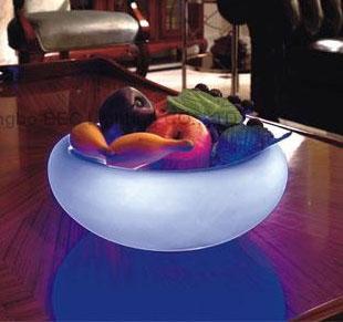 Светильник светодиодный Ваза для фруктов стекло. D295x130мм. 21 RGB LED аккум. Управлен цветом с ПУ