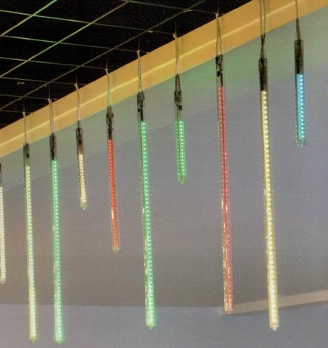Светодиодная иллюминация Метеор зеленый цвет , 6 поликарбонатных туб (LxD) 30x2,5 см. , IP54,32LED 220В