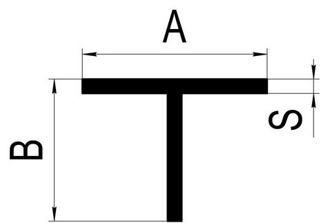 Т-образный профиль (тавр) 80х50х1,7 облегченный (фасадный)