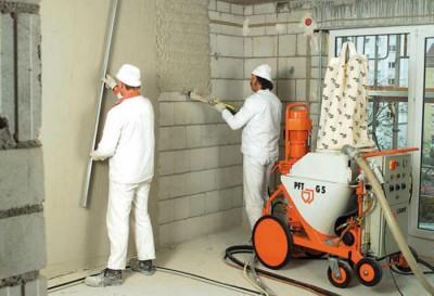 Цементная машинная штукатурка. Стоимость 1 м кв. трудозатрат готовой поверхности (с  учетом стоимости материалов)