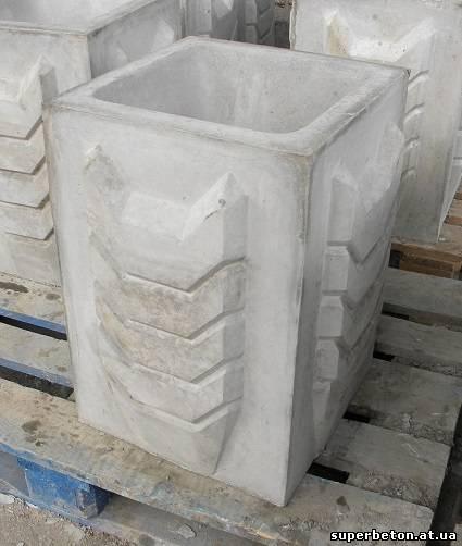 Цветочница бетонная уличная, квадратная, тип №5. Размеры 400х400х560 мм, вес 70 кг