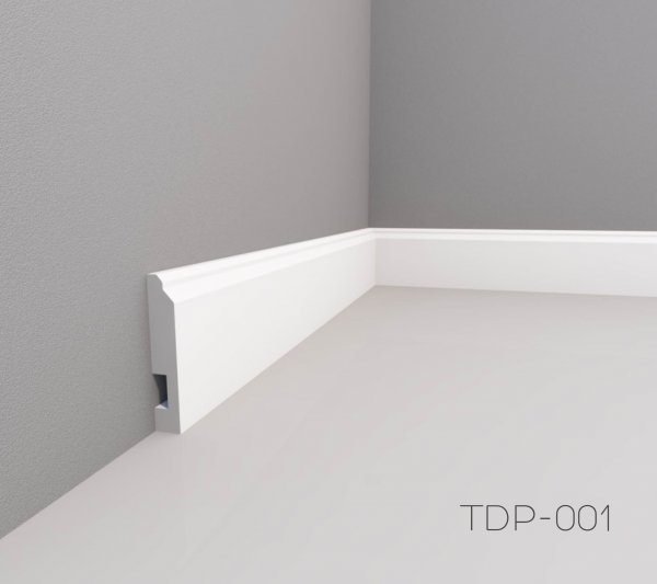 Фото  1 Плінтус підлоговий фарбований МДФ TDP-001 16х70мм 2м 169023