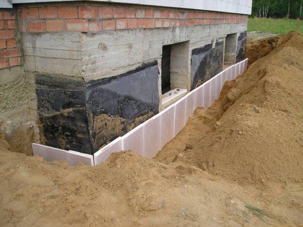 Тепло- и гидроизоляция фундаментов расположенных под землей (подземная или подвальная гидроизоляция)