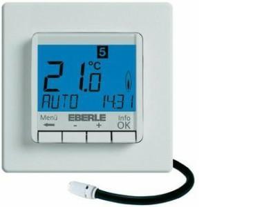 Термостат EBERLE-FIT 3F. Недельный програм. Съемный дисплей. Датчик на проводе 4м. Разные цвета подстветки.16А, IP30