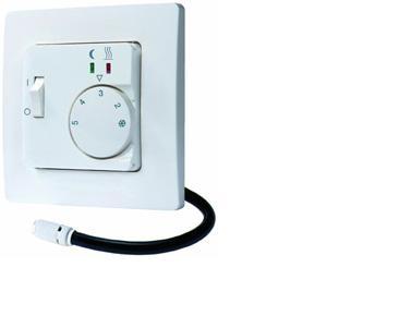Термостат EBERLE-Fre F2A-50. Мех. с кнопкой выкл. Датчик на проводе 4 м. Монтаж в стандарт. коробку. 16 А, IP30