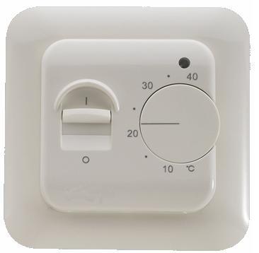 Термостат MENRED-RTC 70. Для теплого пола. Монтаж в стандарт. монтажн. коробку. Кнопка выкл. питания. 16 А, IP 20