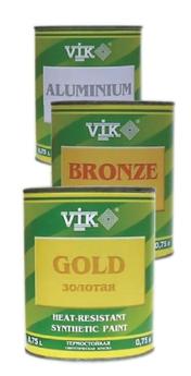 Термостойкая синтетическая краска Vik. на основе гидрокарбонной смолы и металлической бронзы.