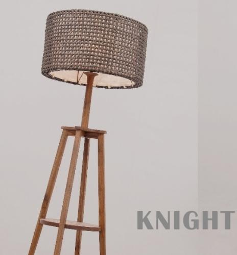 Торшер с полочкой, деревянный (тик) с плетеным ротанговым абажуром, высота 1,2м. Торг!