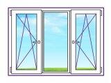 Фото 1 Трьохстулкове пластикове вікно з двома поворотно-відкидними стулками 328393