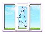 Фото 1 Трьохстулкове пластикове вікно з однією поворотно-відкидний стулкою 328392