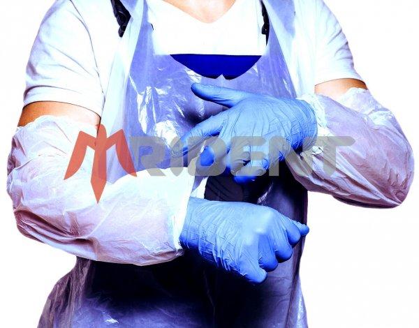 Фото  1 Нарукавники поліетиленові білі, шовні, (полиэтиленовые белые шовные) 20х40 см., 100шт 1444439