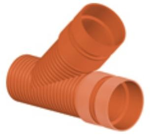 Тройник 45* ПП для гофрированных труб InCor D 250 х 250 мм