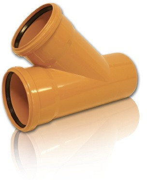 Тройник ПВХ 45* для безнапорной внешней канализации D 250 х 200 мм