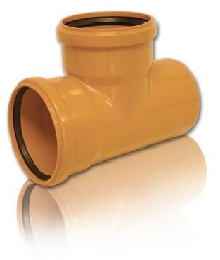 Тройник ПВХ 90* для безнапорной внешней канализации D 250 х 250 мм