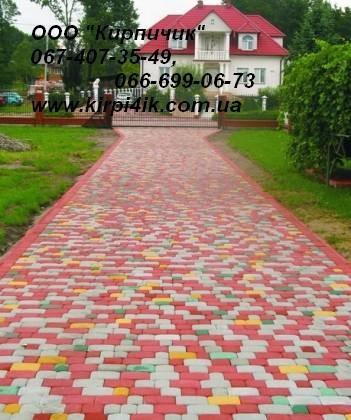 Тротуаоная плитка форма Старый город, толщина плитки 2,5 см, цвет - серая.