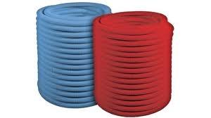 Труба защитная гофрированная (пешель) красная или синяя 25