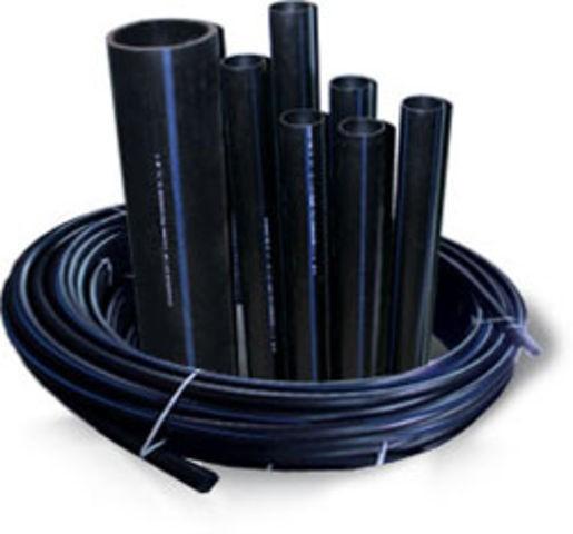 Трубы полиэтиленовые напорные в ассортименте. Черные с синей полосой. Трубы пе для наружного водопровода.
