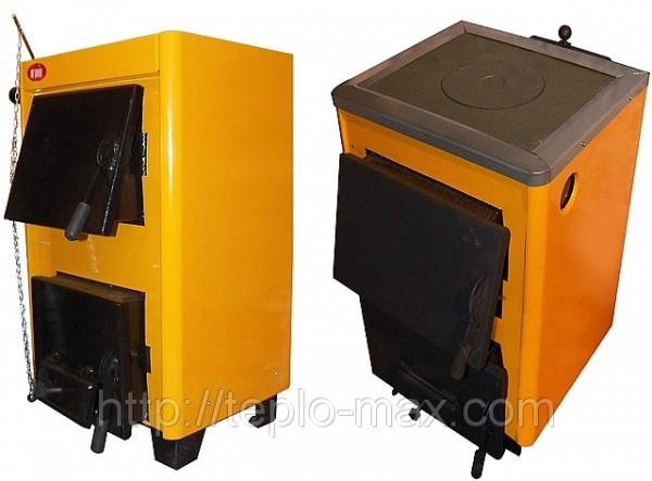 Твердотопливные котлы Огонек модель КОТВ-10, КОТВ-10П с плитой. Продажа, доставка по Украине.