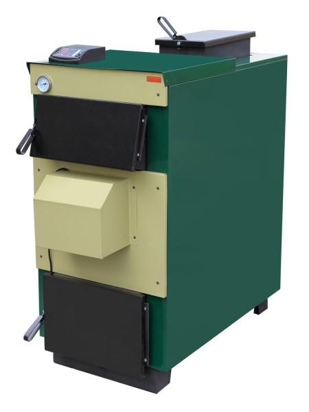 Твердотопливный котел длительного горения Тивер 12 кВт с вентилятором та контроллером(толщ.металла 5мм)
