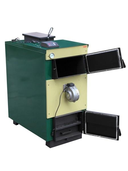 Твердотопливный котел длительного горения Тивер 18 кВт с вентилятором та контроллером(толщ. металла 5мм)