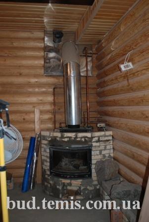 твердотопливный котел и камин с водяной рубашкой два в одном- 1,5 бар 12 кВт ровное стекло