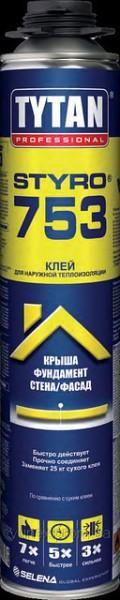 TYTAN O2 STYRO 753 Полиуретановый клей GUN B3 750 мл (проф. ) для пенополистирола и минеральной ваты, заказ от 12 шт.