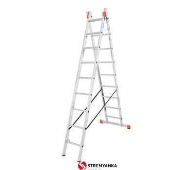 Фото  1 Универсальная двухсекционная лестница Dubilo KRAUSE 2x9 ступеней 2234185