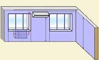 Установка внутреннего блока кондиционера между окнами, наружный под левым окном.