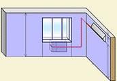 Установка внутреннего блока кондиционера на правой стене, наружный под окном.