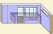 Установка внутреннего блока кондиционера на правой стене, наружный на балконном ограждении.