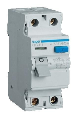 Устройства защитного отключения ( УЗО ) Hager . Номинал 16 63А . Класс A , AC . Ток утечки 10- 300мА .