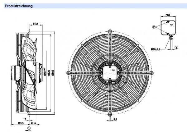 Вентилятор осевой S4D500-AE03-01 (V), IP54, 690 Вт, 400 В, глубокая решетка. Более подробная информация - по запросу.