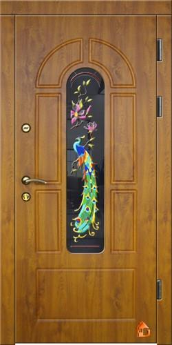 Вхідні двері зовнішні ДрімБуд. 2-камерний склопакет з кольоровим вітражом. Замок Кale 252R.
