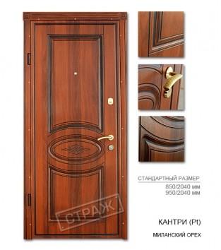 """Входные двери """"Страж"""" Модель Кантри(Pt), цвет миланский орех"""